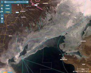 Ледовая обстановка в Каспийском море по спутниковым данным на 09-10 января 2021 г.
