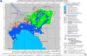 Ледовая обстановка в Каспийском море по спутниковым данным на 24 февраля 2021 г.